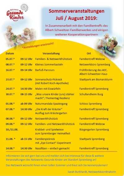 Sommerveranstaltungen 2019 Netzwerk Gesunde Kinder
